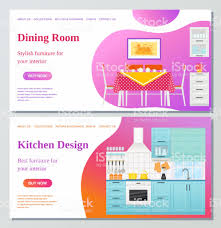 Kitchen Dining Room Web Page Design Template Vector Illustration Royalty Free