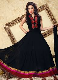 black and red net anarkali suit