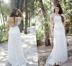 Lace Illusion Neckline Button Back Wedding Dress Plus Size Boho And Rustic Vestidos De Novia