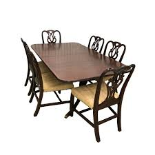 1930s Vintage Baker Furniture Dining Table Chairs Set Of 7 For Sale