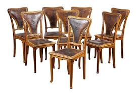 Lot Of 8) Art Nouveau Jugendstil White Oak Dining Set Of 8 Vintage Midcentury Art Nouveau Style Boho Chic Italian Stunning Of Six Inlaid Mahogany High Back Chairs 2 Pair In Antiques Atlas Lhcy Solid Wood Ding Chair Armchair Lounge Nordic Style A Oak Set With Table Seven Chairs And A Side Ding Suite Extension Table France Side In Leather Chairish Gauthierpoinsignon French By Gauthier Louis Majorelle Caned An Edouard Diot Art Nouveau Walnut And Brass Ding Table Four 1930s American Classical Shieldback 4
