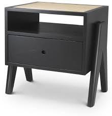 casa padrino luxus nachttisch schwarz naturfarben 58 x 45 x h 55 5 cm massivholz beistelltisch mit rattangeflecht luxus schlafzimmer möbel