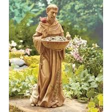 st francis of assisi ceramic bird animal feeder garden