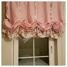 Pink Ruffled Window Curtains by Shabby Chic Home Pink Linen Balloon Valance French Country