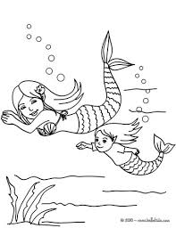 Mermaids Swimming Coloring Page