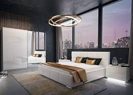luk furniture lina schlafzimmer komplett set komplettprogramm weiß hochglanz mit bett schrank und nachschränke 3 teilig spiegel schwebetürenschrank