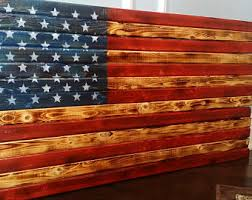 Natural Scorched High Gloss Wooden Rustic American Flag Distressed Pallet Antique Wall Art In Rough Cut
