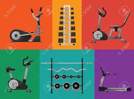 Vector Illustration Of Gym Sports Equipment Icons Set Treadmill Elliptical Cross Trainer Exercise