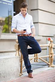 White Checked Oxford Navy Pants Caramel Belt Brogues Simple