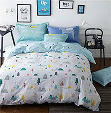Sandyshow Forest Tree Cotton 2PC Twin Bedding Sets White Christmas Duvet Cover With 4 Corner