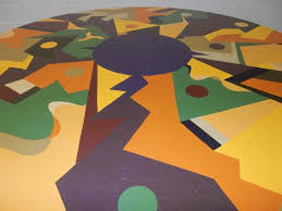 Mid Century Modern Saarinen Style Tulip Dining Table Abstract Painting In Good Condition For Sale