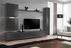 all4all wohnwand tv board anbauwand schrankwandt lowboard sw 8 grau natan
