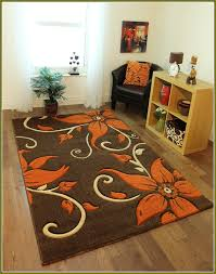 Very Nice Floral Brown Area Rug With Orange Flowers