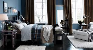 Bedroom Blue Stain Wall Come With Brown Fabric Curtain And