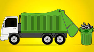 Blue Dump Truck 3 Axle Cartoon