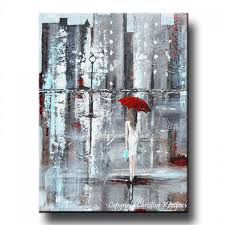 GICLEE PRINT Art Abstract Painting Girl Red Umbrella City Canvas Wall Decor