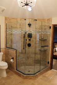walk in shower featuring charming tiled bathrooms designs and open