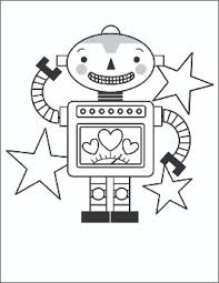 Valentines Day Coloring Page Robot