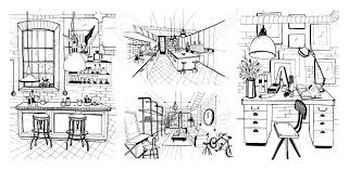 100 Loft Ensemble Intrieurs De Chambres Modernes Dans Le Style Loft Dillustration De Croquis Dessins La Main