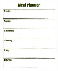 Blank Weekly Meal Planner Template Party Menu Dinner Templates