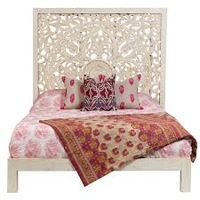 Aerobed Queen Rollaway With Headboard by Wanderloot Bali Hand Carved Floral Medallion White Painted Mango