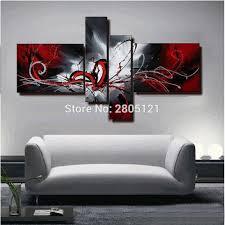 großhandel bemalt abstrakten ölgemälde rot schwarz weiß leinwand wandkunst schwarz wandbild modulare gemälde wohnzimmer rot crape 24 62