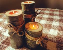 Rustic Wedding Decor Wooden Log Tealight Set Of Three