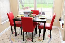 5 PC Red Leather 4 Person Table And Chairs Red Dining Dinette - Red ... Ding Chair Velvet Modern Room Fniture Tufted Parson Set Chairs Red Leather Luxury Picture 3 Of 26 Eugene Parsons Faux Cappuccino Wood Add Contemporary Sophiscation To Your With Shop Classic Upholstered Of 2 By Inspire Q 89 Off Pottery Barn 5 Pc 4 Person Table And Red Dinette Black And Cool Crimson Eco W Glamorous Mid Century Pair Oxblood Club For