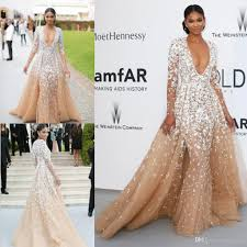 2016 zuhair murad evening gowns long sleeves champagne tulle
