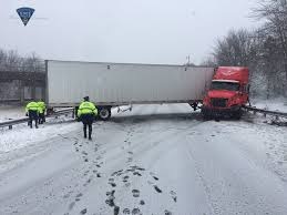 Mass Pike Sees Multiple Jackknifed Tractor-trailer Trucks | WJAR Semi Jackknifes On Icy Hwy 20 Driver Cited Ktvz Two Police Officers 2 Others Injured In Crash When Truck Jackknifed Semi Creates Traffic Snarl I44 Near Catoosa Tulsas I75 Reopens After Jackknifed Cleared Sw Detroit Causes Sthbound I15 Salt Jackknifed Truck Youtube Route 3 North Closed Near Putnam Bridge For Tractor A Hgv Heavy Goods Vehicle Lorry Stuck A Stock Delays I65 Tractor Trailer I91 New Haven Connecticut Shuts Down Inrstate 15 Bannock County Wreck I70 Cdot Offering Tire Checks