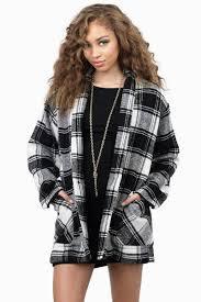 black coat wool coat plaid sweater jacket black u0026 white
