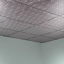 Vinyl Ceiling Tiles 2x2 by Fasade Ceiling Tile 2x2 Suspended Diamond Plate In Crosshatch Silver