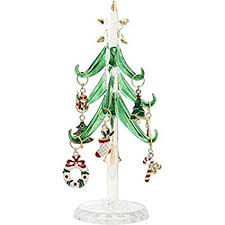 LSArts Glass Christmas Tree With 9 Enamel Wine Charm Ornaments Green 6Inch Gift