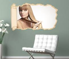 3d wandtattoo tapete schöne frisur friseur salon lange haare frau durchbruch selbstklebend wandbild wandsticker wohnzimmer wand aufkleber