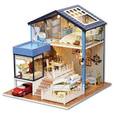Amazoncom Goody Kits DIY Wood Miniature Dollhouse With Furniture