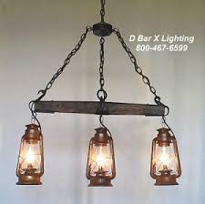 DX753 Rustic kitchen light with Single Tree and Hanging Lanterns