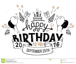 Happy Birthday Greeting Card Hand Lettering Stock Vector Image