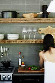 Kitchens Adding Rustic Wooden Shelves To Modern Kitchen Is Easy And Effortless