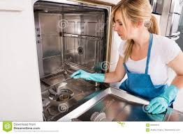 Download Woman Cleaning Dishwasher In Kitchen Stock Image