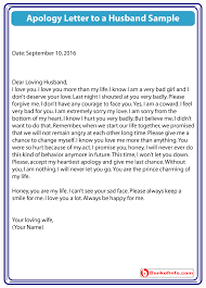apology letter to a husband