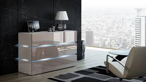 kommode shine sideboard 90 cm cappuccino hochglanz weiß led beleuchtung modern design tv möbel anrichte sigma