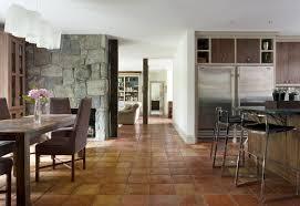 Rustic Decor Ideas Open Plan Kitchen Dining Room Saltillo Tile Home Flooring