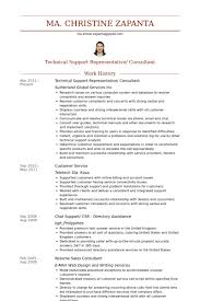 Technical Support Representative Consultant Resume Samples