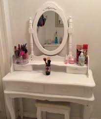 Extendable Bathroom Mirror Walmart by Costway White Vanity Jewelry Makeup Dressing Table Set W Stool 4