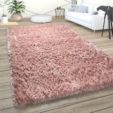 hochflor teppich wohnzimmer shaggy pastell weich flauschig einfarbig langflor rosa