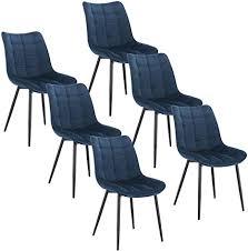 woltu 6 x esszimmerstühle 6er set esszimmerstuhl küchenstuhl polsterstuhl design stuhl mit rückenlehne mit sitzfläche aus samt gestell aus metall