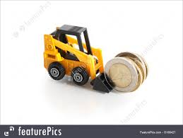 100 Toy Forklift Truck Finance And Currency With Money Stock Picture