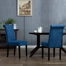 DAGONHIL Stylish Parsons Dining Room Chairs Set Of 2with Solid Wood Legs