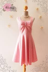 pink dress pink tea dress polka dot dress pink retro bridesmaid