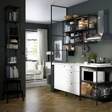 enhet مطبخ فحمي أبيض 183x63 5x222 سم